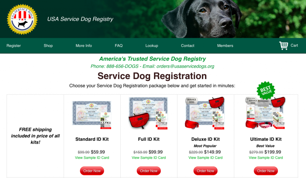 USA Service Dog Registry Packages